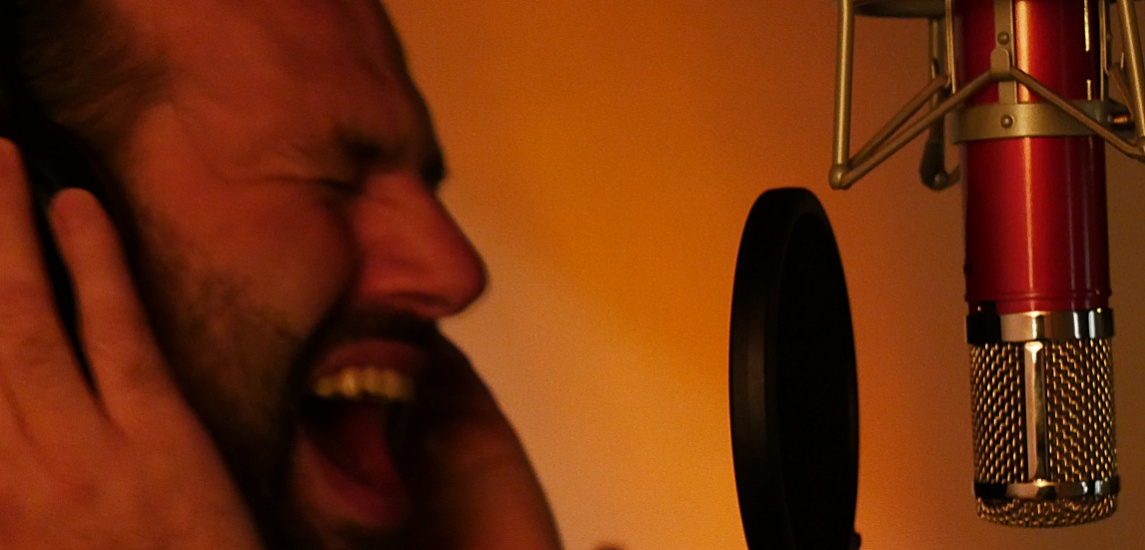 Our lead vocalist Peter Moltmaker in the studio